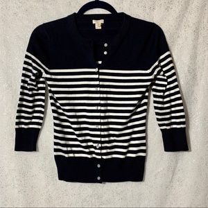J.Crew Clare cardigan navy and white striped XS